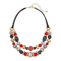 SONOMA life + style Bead Swag Necklace (Black/Red/Gold)