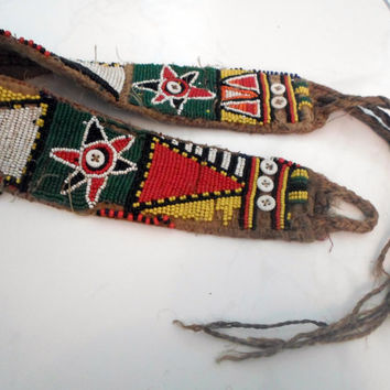 Vintage Tribal Door Hanging from Jordan is Made of Wool and Enhanced with Patterns of Small Colorful Beads