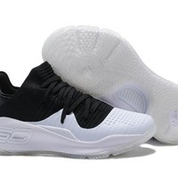HCXX Men's Under Armor Curry 4 Low-Cup Shoes Basketball Shoes #1802 Black White 40-46