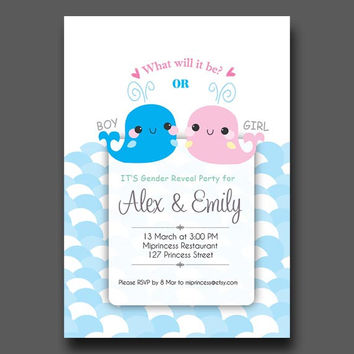 Boy Or Girl Gender Reveal Invitation / Whale Dolphin boy or girl announcement Party / baby owl Chalkboard - card 123