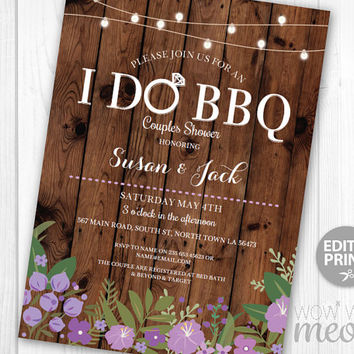 I Do BBQ Invitations Couples Shower Purple Floral Printable Invite Engagement Party INSTANT DOWNLOAD Lights Personalize Editable Printable