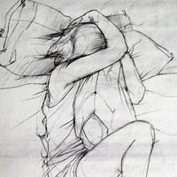 The Science of Missing You 8x10 fine art print - delicate gray drawing of a girl and her pillow