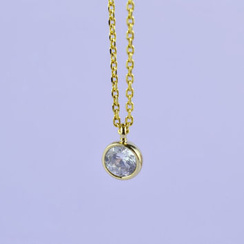 Mini Round CZ Necklace, Gold Plated Brass Pendant, Delicate Chain, Perfect Gift