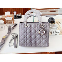 DIOR casual moire lady shopping bag is a hot seller with a shoulder bag Gray
