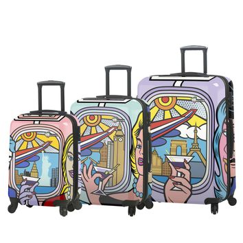 """Jozza """"First Class"""" Graphic Hardside Spinner Luggage Set (3 Pieces)"""