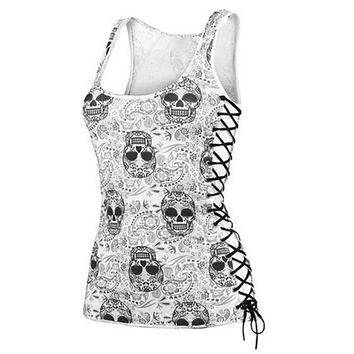 New Skull Head Design Tops Harajuku Sleeveless White T Shirts Fitness Women Vest Casual Camisole Tank Top