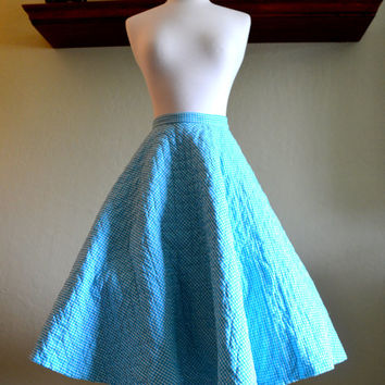 Gorgeous Vintage Circle Skirt with Pettiskirt, Quilted Turquoise Gingham, Snyder Craft, Size XS, 1950s