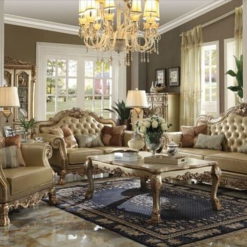 Acme 53160 2 pc dresden collection gold patina finish wood and bone faux leather upholstered sofa and love seat set with tufted backs