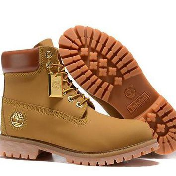 ONETOW Timberland Women's 6 Inch Smooth Boot - Wheat Gold Logo Outlet