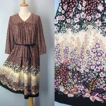 1970s Vintage Floral Garden Dress Boho Medium Large