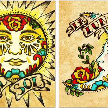 Old School Tattoo Art Print Loteria El SOL & LA LUNA 5 x 7 Set