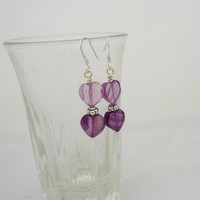 Fluorite Earrings, Fluorite Heart Earrings, Gemstone Heart Earrings, Purple Gemstone Earrings, Dangle Heart Earrings