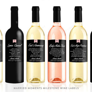 Married Milestones First Wine Labels Bridal Shower or Wedding Gift (Set of 6) Weatheproof Removable Wine Poem Gift Tags Wine Basket