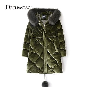 Dabuwawa Two Colors Vintage Winter Women Casual Down Coat Hooded With Fox Collar Warm Jacket Female