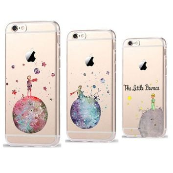 Phone Cases For Coque iPhone 8 7 6 6S Plus SE 5 5S X Cartoon The Little Prince The earth space Silicone TPU Transparent Cover