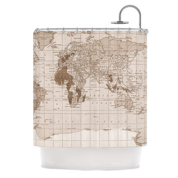 "Catherine Holcombe ""Emerald World"" Vintage Map Shower Curtain"