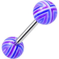 14 Gauge Purple Blue Acrylic Plum Perfect Barbell Tongue Ring 5/8""