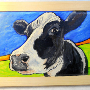 Framed Holstein Cow Oil Painting on Wood, Cow Oil Painting, Farm Scene Painting, Cow Close Up