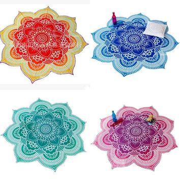 4 Sizes Lotus Flower Indian Mandala Tapestry Decorative Wall Hanging Blanket Boho Beach Throw Towel Hippie Yoga Mat Bedspread