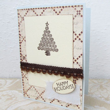 Happy Holidays Card - Christmas Card - Ivory and Brown Card - Christmas Tree - Hand Stamped - Blank Card - Rustic Christmas Card