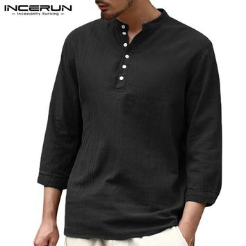Streetwear Mens T Shirts Long Sleeve Henley Shirts Loose Fit V-Neck 3/4 Sleeve Camisas Hombre Autumn Men Clothing Casual Tee