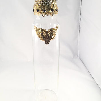 Hand Designed Decor Bottle, Angel, Flower, Pearl And Rhinestone Accents, OOAK, Vanity, Home Decor