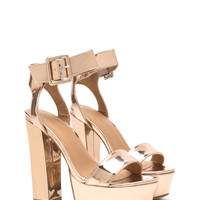 Step On It Chunky Faux Patent Platforms