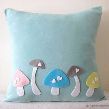 Love Mushrooms Soft Teal And White Pillow Cover by RaineStyleHome