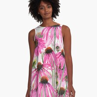 'pink purple coneflower field watercolor ' A-Line Dress by ColorandColor