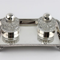 Vintage 1940s Friedman Silver Co. Silver Inkwell Tray with Double Glass Inkwells