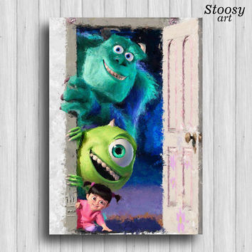 Boo and Mike and Sully poster monsters inc nursery watercolor kids wall art