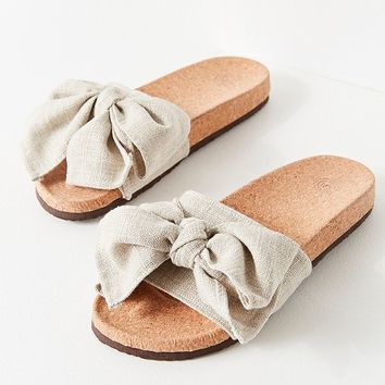 UO Linen Twist Pool Slide | Urban Outfitters