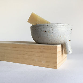 SOAP DISH Rustic Speckled White with strainer for bathroom sink, ceramic, ceramics, pottery, handmade