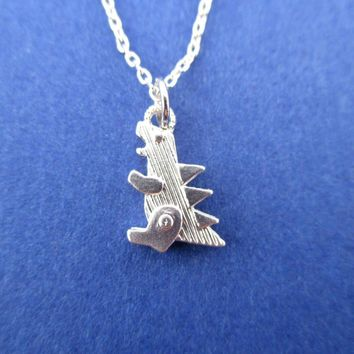 Godzilla Dinosaur Shaped Pendant Necklace in Silver | DOTOLY