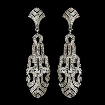 Art Deco WEDDING DANGLE EARRINGS Cubic Zirconia Antique Silver Vintage Style Earring Bride's  Jewelry-  Bridal Jewelry -  Wedding Earrings