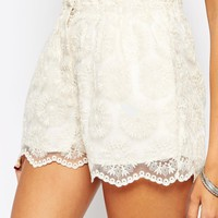 ASOS Paper Bag Waist Shorts in Lace Co-ord