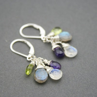Multi Color Gemstone Cluster Earrings