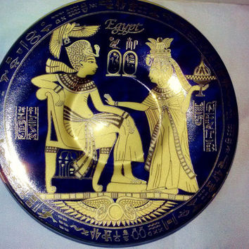 Fathi Mahmoud Porcelain Egyptian Limoges Sculpture Collectable Plate Made in Egypt 1942 Blue and 24k Gold King Akhenaton Queen Nefertiti