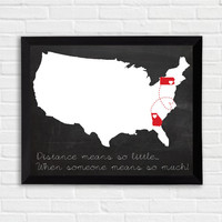Framed Personalized map ,US map,long distance love, friendship, gift , wall art , personalized illustration, home decor