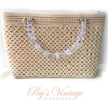 Unique Pink & Ivory/White Crochet Vintage Purse//Acrylic Clear Handles, Crochet Knitted Yarn//Plastic Canvas Purse Hand Bag