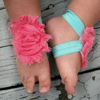 Baby Barefoot Sandals..Coral Flowers..Toddler Sandals..Newborn Sandals