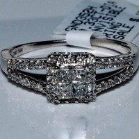 Princess Cut Engagement Ring Halo Split Shoulder 14K White Gold .35ct Wedding