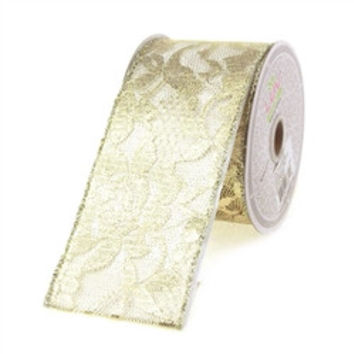 Metallic Floral Lace Trim Ribbon, 2-1/2-inch, 25-yard, Champagne