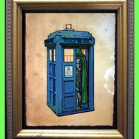 Police Box Art Print - Doctor Whom - Dr. Whom - Doctor Whoom- Digital Collage Art Print on Tea Stained Paper - Art Print