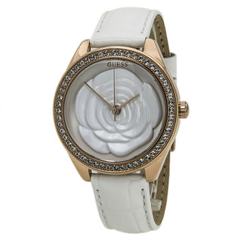 Guess U0215L1 Women's White Dial Rose Gold Steel Interchangeable Leather Strap Watch