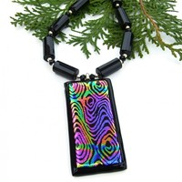 Peacock Feather Dichroic Glass Pendant Necklace, Black Onyx Gemstones Sterling Handmade Fashion Jewelry