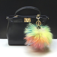 NEW Tropical Swirl™ Multi Color Raccoon Fur Pom Pom bag charm clover flower charm keychain piece no.315