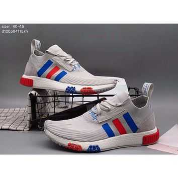 Adidas pedal socks shoes lazy shoes men casual tide shoes cloth shoes F-A36H-MY Gray + red blue line