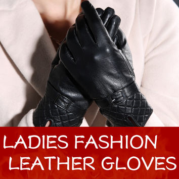 Warm winter women sheepskin leather gloves for women ladies black thickening genuine leather gloves female fleece lined Mittens