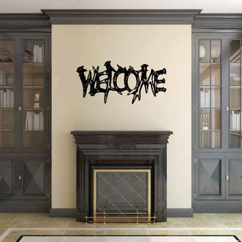 Welcome Sign with Antlers Vinyl Wall Words Decal Sticker Graphic
